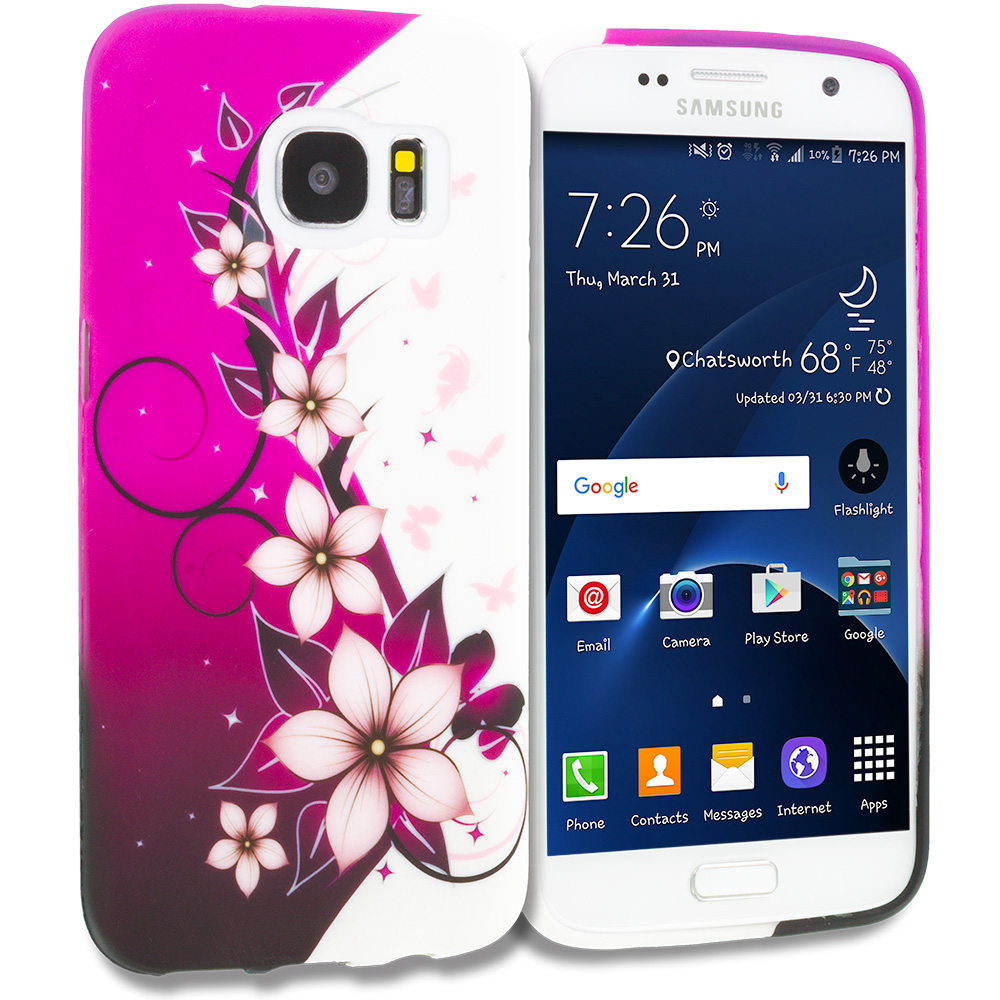 Samsung Galaxy S7 Combo Pack : Purple Flower Chain TPU Design Soft Rubber Case Cover : Color Purple Silver Vine Flower