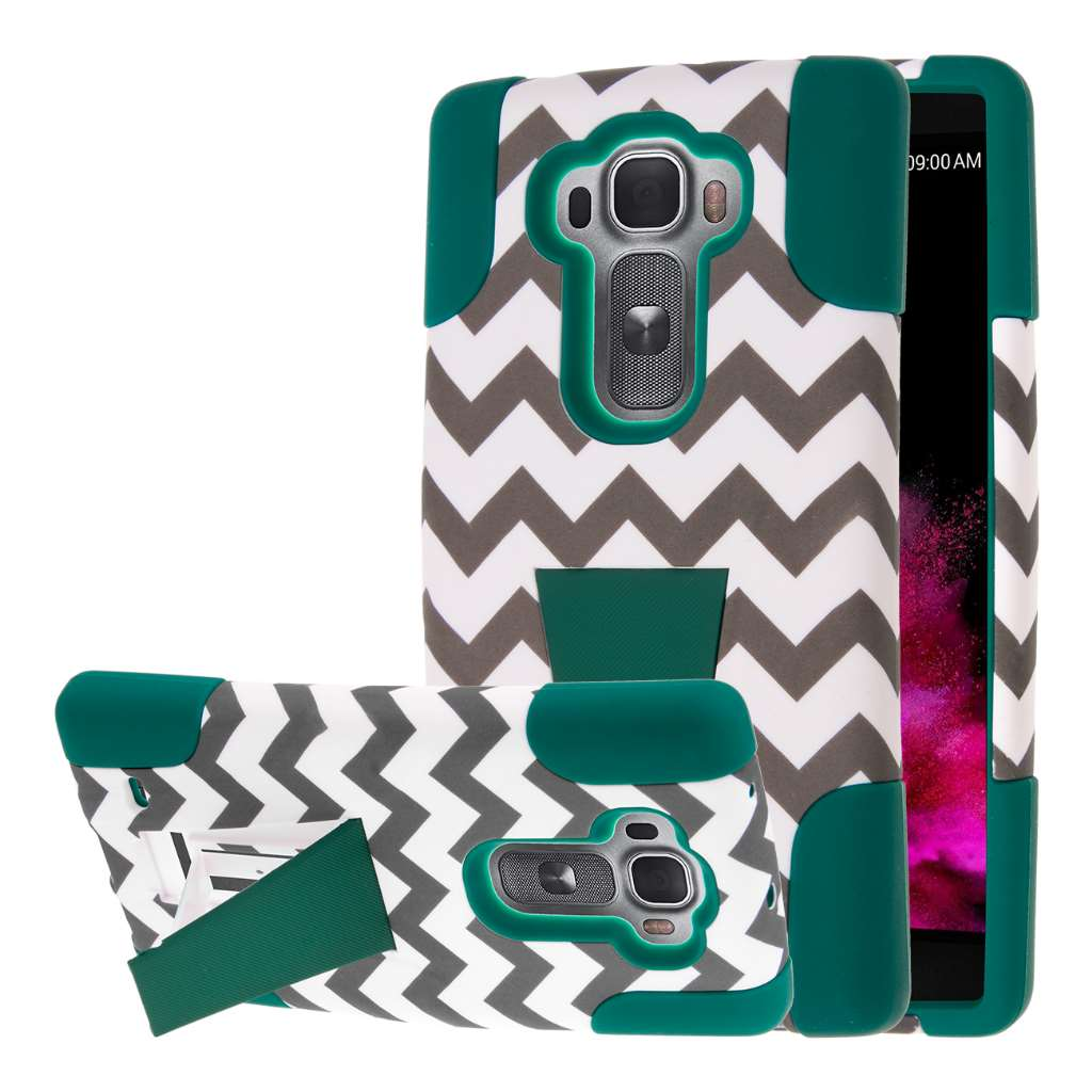 LG G Flex 2 - Teal Chevron MPERO IMPACT X - Kickstand Case Cover