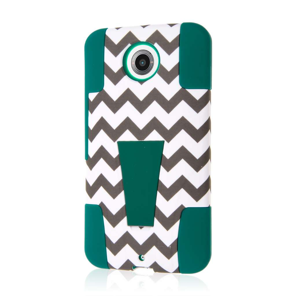 Google Nexus 6 - Teal Chevron MPERO IMPACT X - Kickstand Case Cover