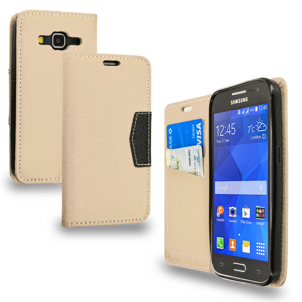 Samsung Galaxy Prevail LTE Core Prime G360P Combo Pack : Black Wallet Flip Leather Pouch Case Cover with ID Card Slots : Color Gold