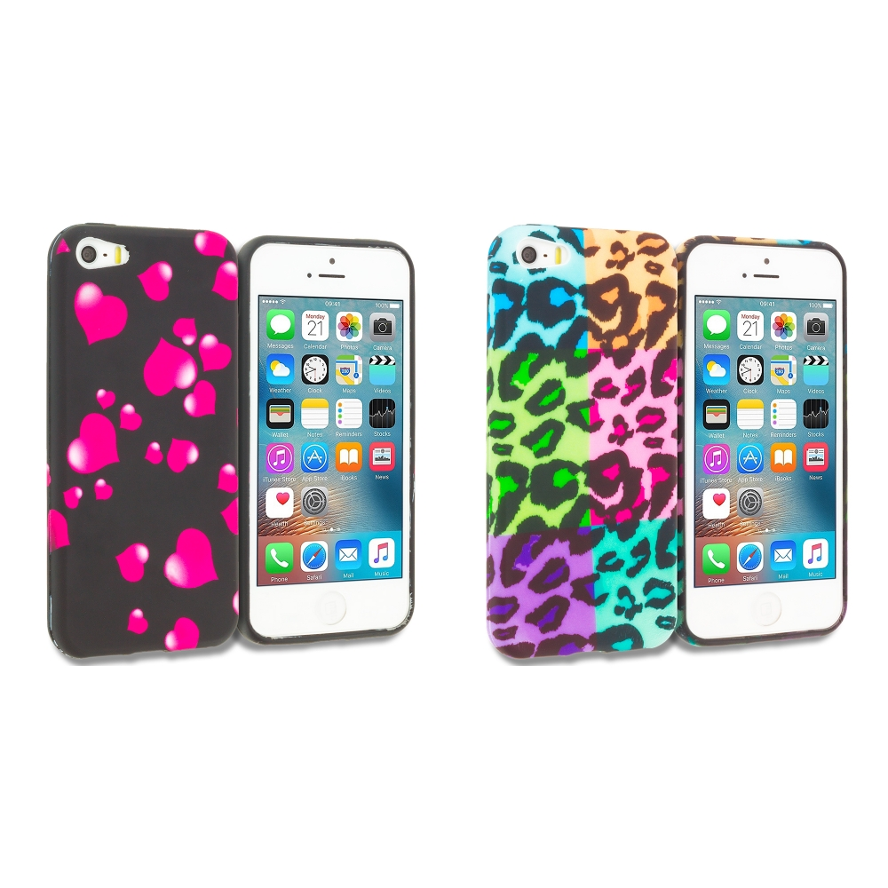 Apple iPhone 5/5S/SE Combo Pack : Raining Hearts TPU Design Soft Rubber Case Cover