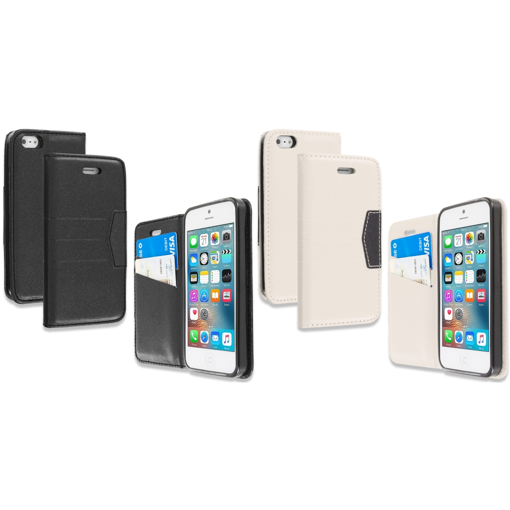 Apple iPhone 5/5S/SE Combo Pack : Black Wallet Flip Leather Pouch Case Cover with ID Card Slots
