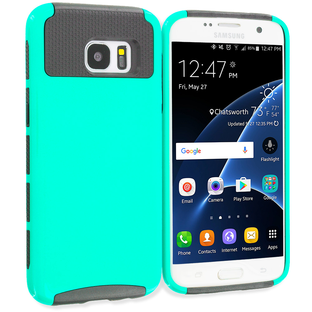 Samsung Galaxy S7 Edge Mint Green / Gray Hybrid Hard TPU Honeycomb Rugged Case Cover