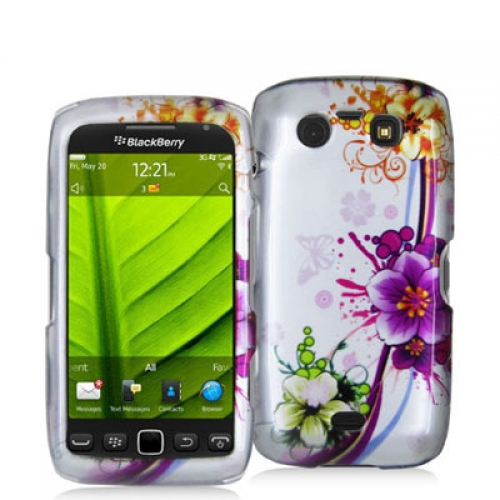 BlackBerry Torch 9850 9860 Purple Flower Chain Design Crystal Hard Case Cover