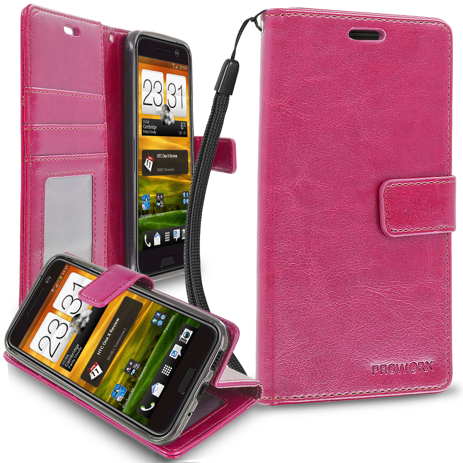 HTC One 10 M10 Hot Pink ProWorx Wallet Case Luxury PU Leather Case Cover With Card Slots & Stand