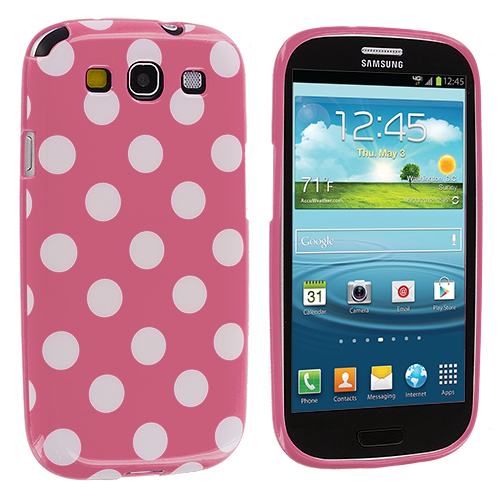 Samsung Galaxy S3 Pink / White TPU Polka Dot Skin Case Cover