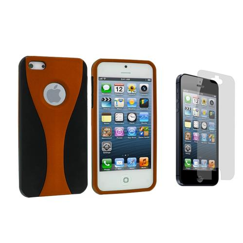 color black 3 piece rubberized hard case cover screen protector for iphone 5 5s ebay. Black Bedroom Furniture Sets. Home Design Ideas