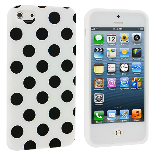 Apple iPhone 5/5S/SE White / Black TPU Polka Dot Skin Case Cover