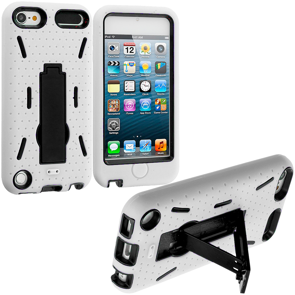 Apple iPod Touch 5th 6th Generation White / Black Hybrid Heavy Duty Hard/Soft Case Cover with Stand