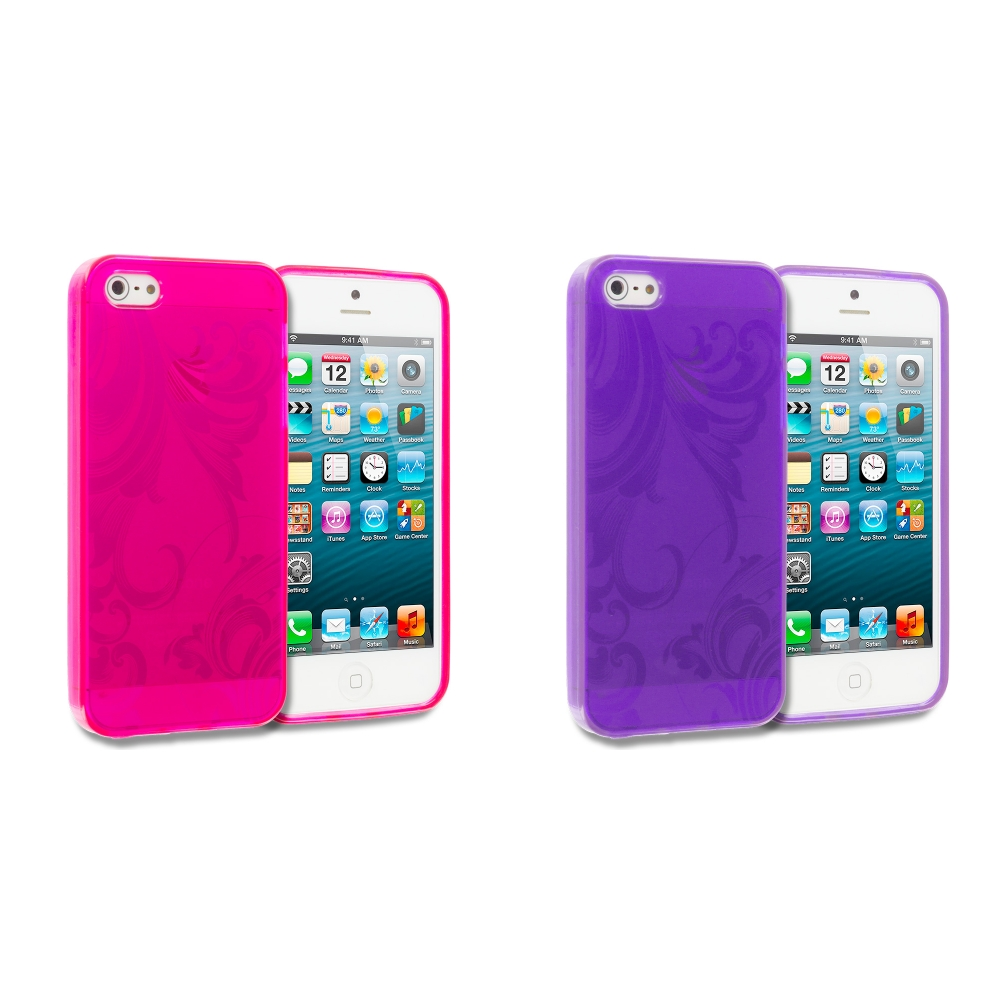 Apple iPhone 5/5S/SE Combo Pack : Hot Pink Floral TPU Rubber Skin Case Cover