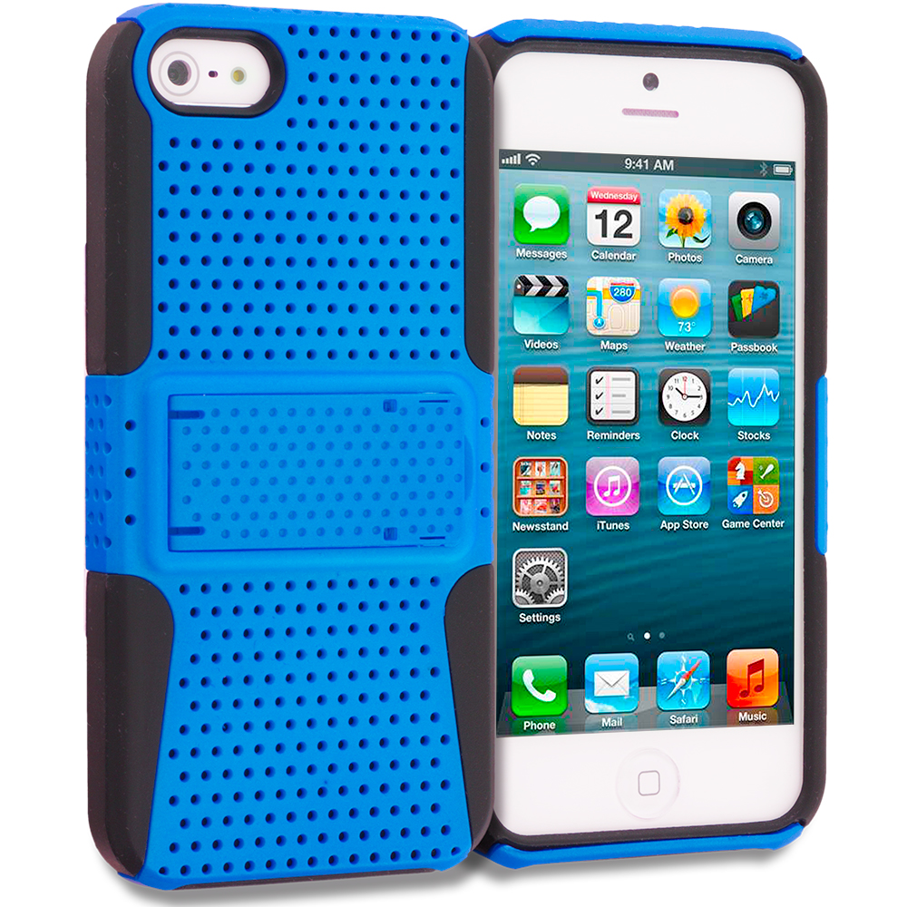 Apple iPhone 5/5S/SE Black / Baby Blue Hybrid Mesh Hard/Soft Case Cover with Stand