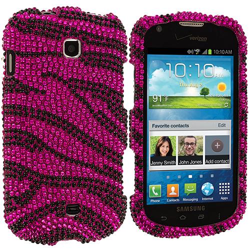 Samsung Galaxy Stellar i200 Black / Hot Pink Zebra Bling Rhinestone Case Cover