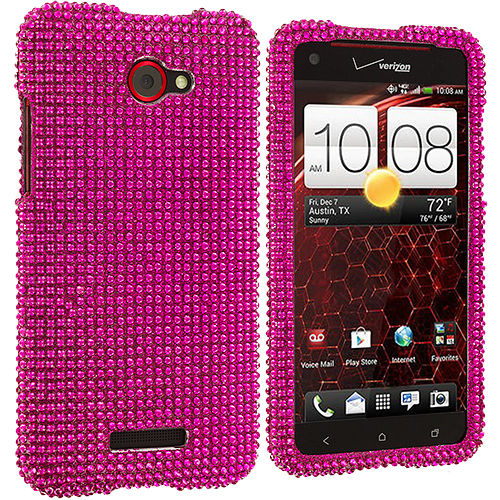 HTC Droid DNA Hot Pink Bling Rhinestone Case Cover