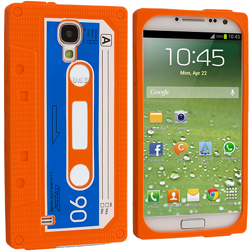 Samsung Galaxy S4 Orange Cassette Silicone Soft Skin Case Cover