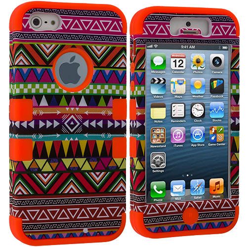 Apple iPhone 5/5S/SE Combo Pack : Red Tribal Hybrid Tuff Hard/Soft 3-Piece Case Cover : Color Orange Tribal