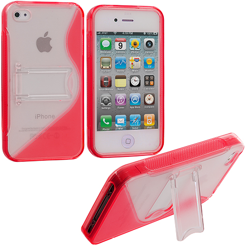 Apple iPhone 4 / 4S Red TPU S-Line Case Cover with Stand
