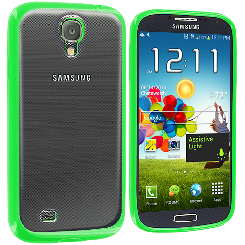 Samsung Galaxy S4 2 in 1 Combo Bundle Pack - White Green TPU Plastic Hybrid Case Cover : Color Neon Green