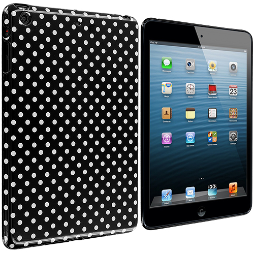 Apple iPad Mini Black / Mini White TPU Polka Dot Skin Case Cover