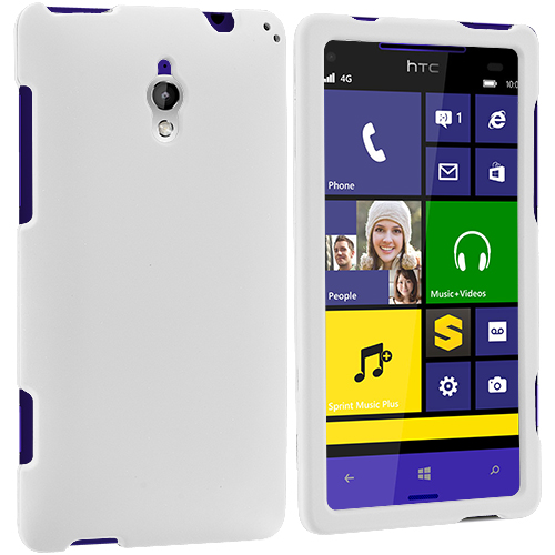HTC 8XT White Hard Rubberized Case Cover
