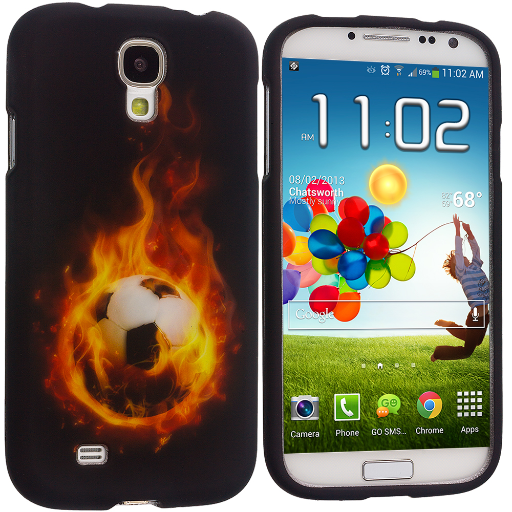 Samsung Galaxy S4 Flaming Soccar Ball Hard Rubberized Design Case Cover