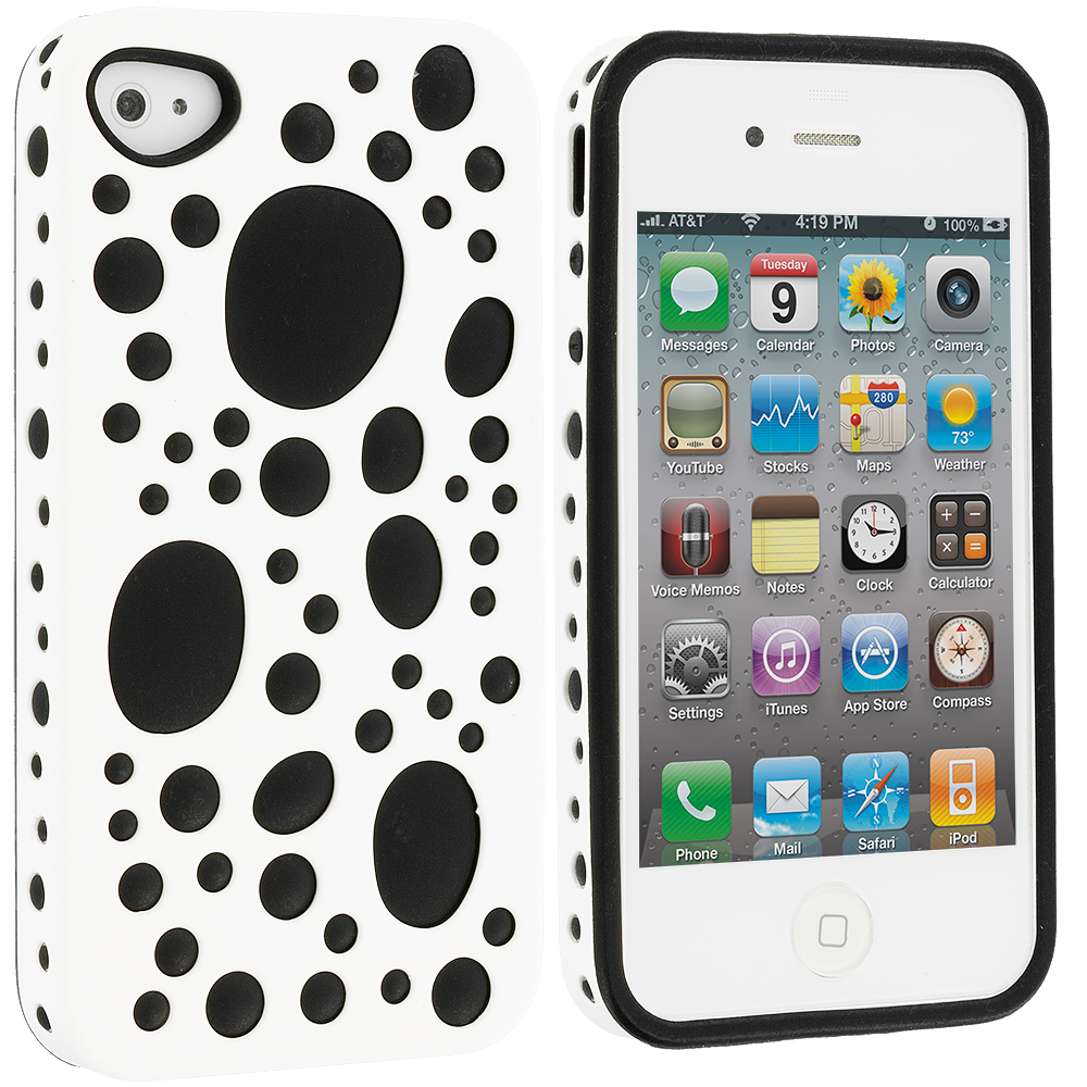Apple iPhone 4 / 4S White / Black Hybrid Bubble Hard/Soft Skin Case Cover