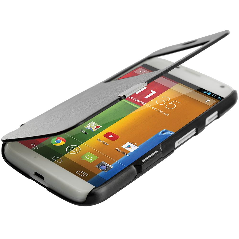 Motorola Moto G Black Magnetic Wallet Case Cover Pouch
