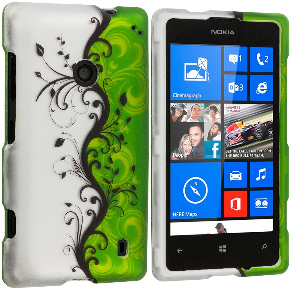 Nokia Lumia 520 Green / White Swirl 2D Hard Rubberized Design Case Cover
