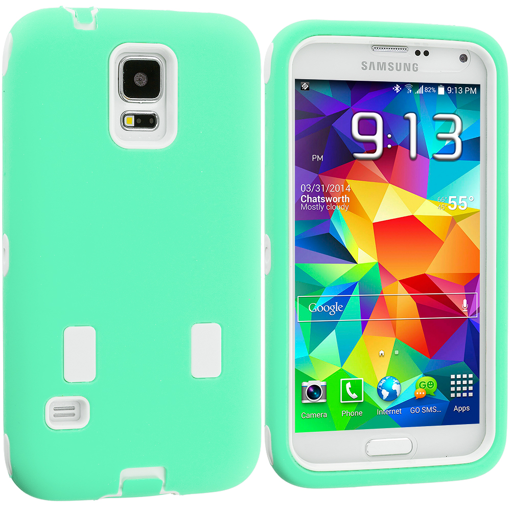 Samsung Galaxy S5 Mint Green / White Hybrid Deluxe Hard/Soft Case Cover