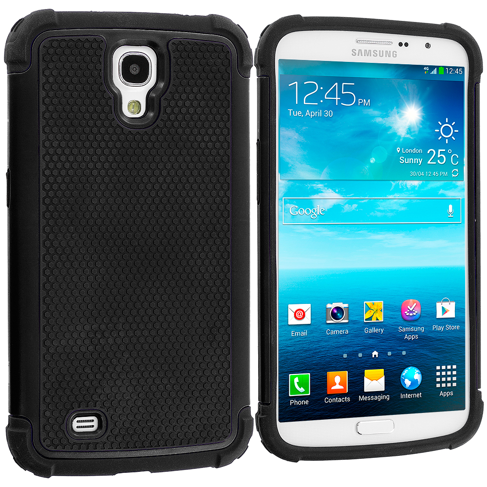 Samsung Galaxy Mega 6.3 Black Hybrid Rugged Hard/Soft Case Cover