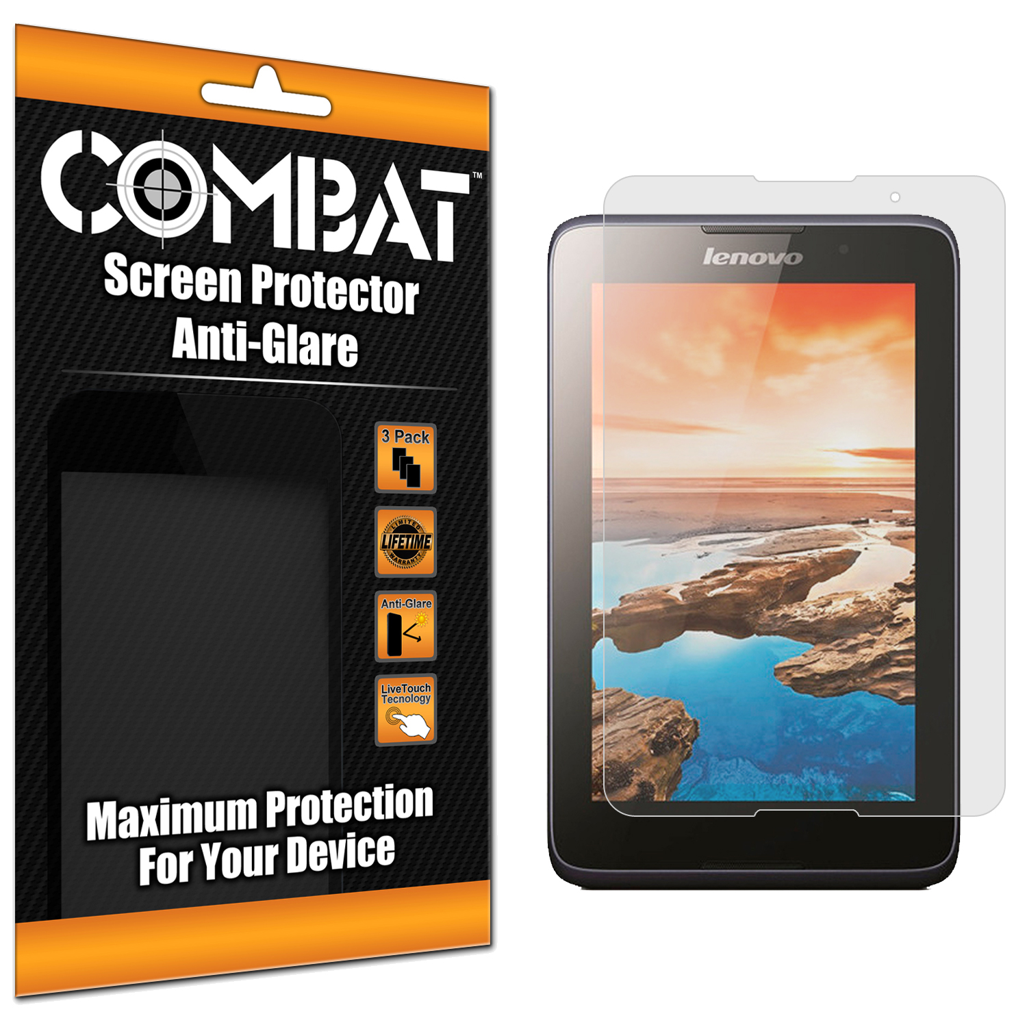 Lenovo Tab A7-50 Combat 3 Pack Anti-Glare Matte Screen Protector