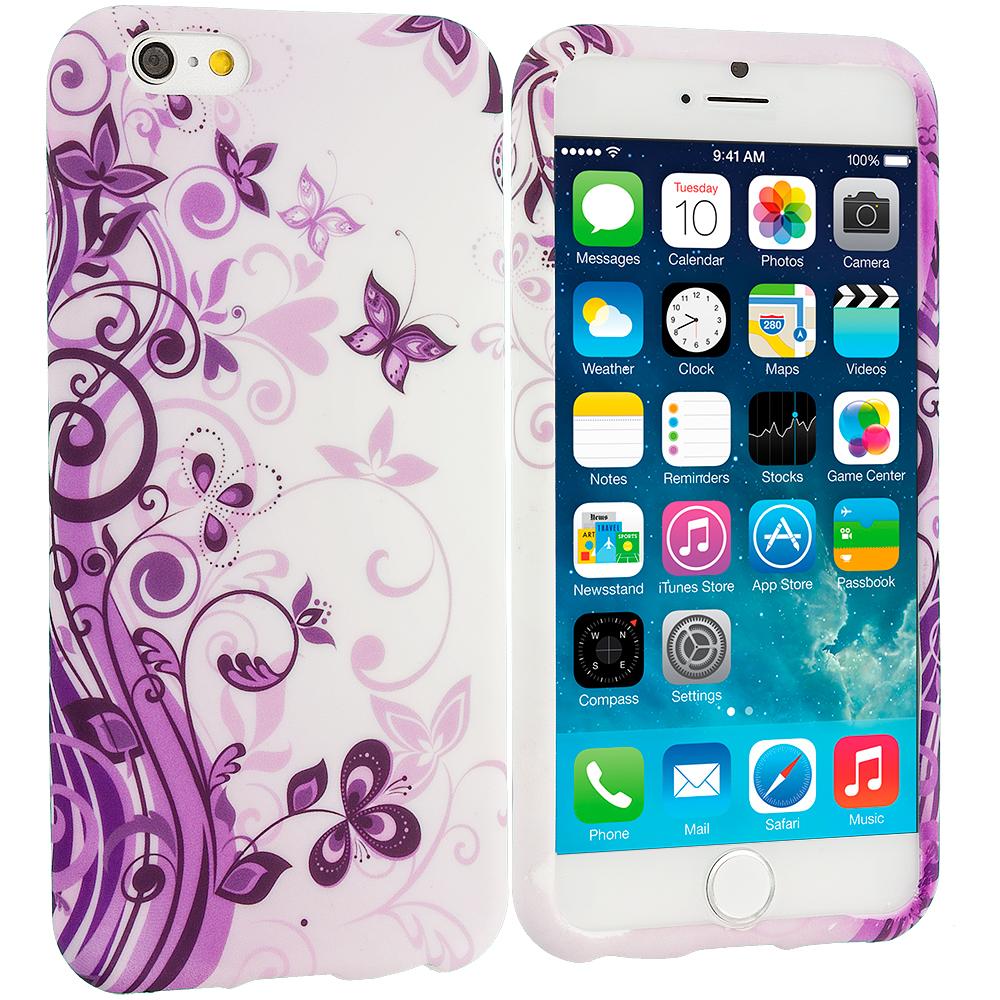 Apple iPhone 6 6S (4.7) Purple Swirl TPU Design Soft Case Cover
