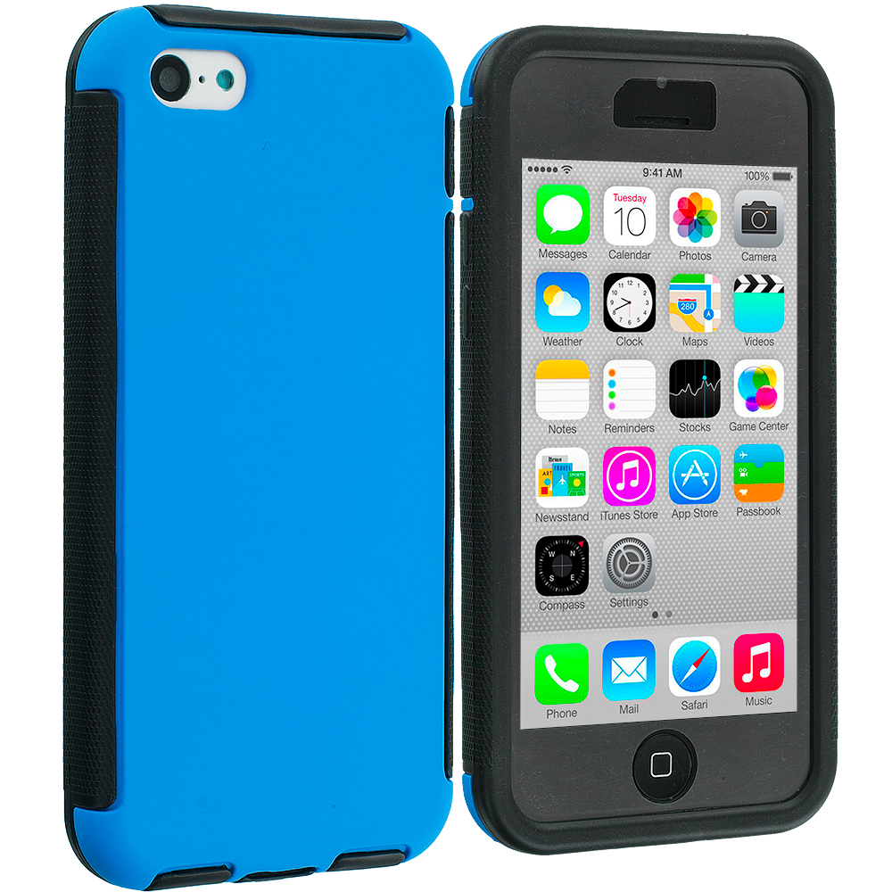Apple iPhone 5C 2 in 1 Combo Bundle Pack - Black / Blue Hybrid Hard TPU Shockproof Case Cover With Built in Screen Protector : Color Black / Blue