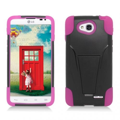 LG Optimus L90 Black / Hot Pink Hybrid Hard Soft Shockproof Case Cover with Kickstand