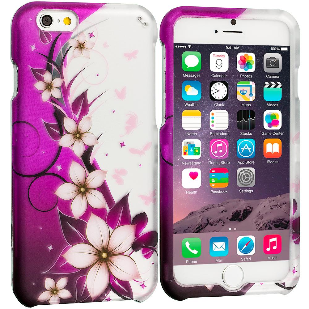 Apple iPhone 6 Purple Silver Vine Flower 2D Hard Rubberized Design Case Cover
