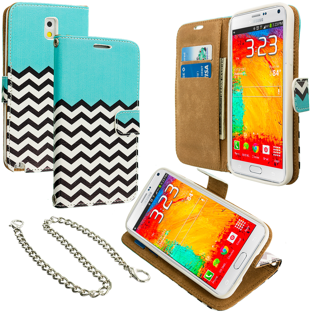 Samsung Galaxy Note 3 N9000 Mint Green Zebra Leather Wallet Pouch Case Cover with Slots