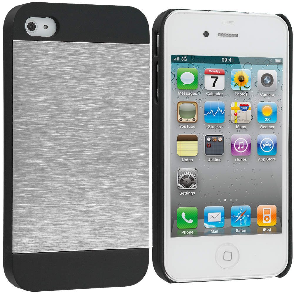 Apple iPhone 4 / 4S 2 in 1 Combo Bundle Pack - Gold / Silver Hybrid Luxury Aluminum Hard Case Cover : Color Silver / Black