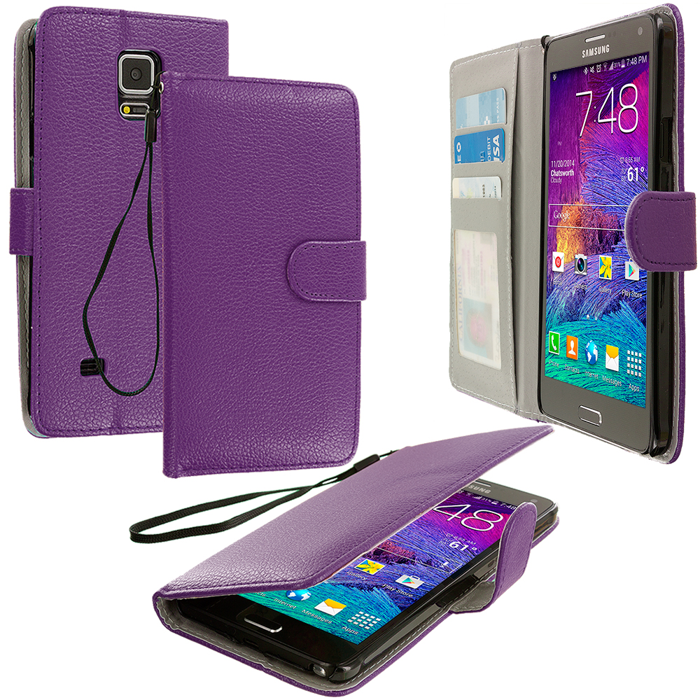 Samsung Galaxy Note 4 2 in 1 Combo Bundle Pack - Black Purple Leather Wallet Pouch Case Cover with Slots : Color Purple