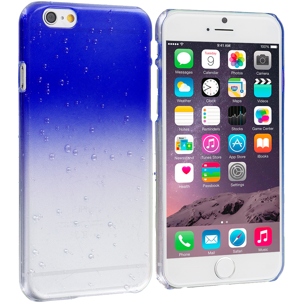 Apple iPhone 6 Plus 6S Plus (5.5) Baby Blue Crystal Raindrop Hard Case Cover