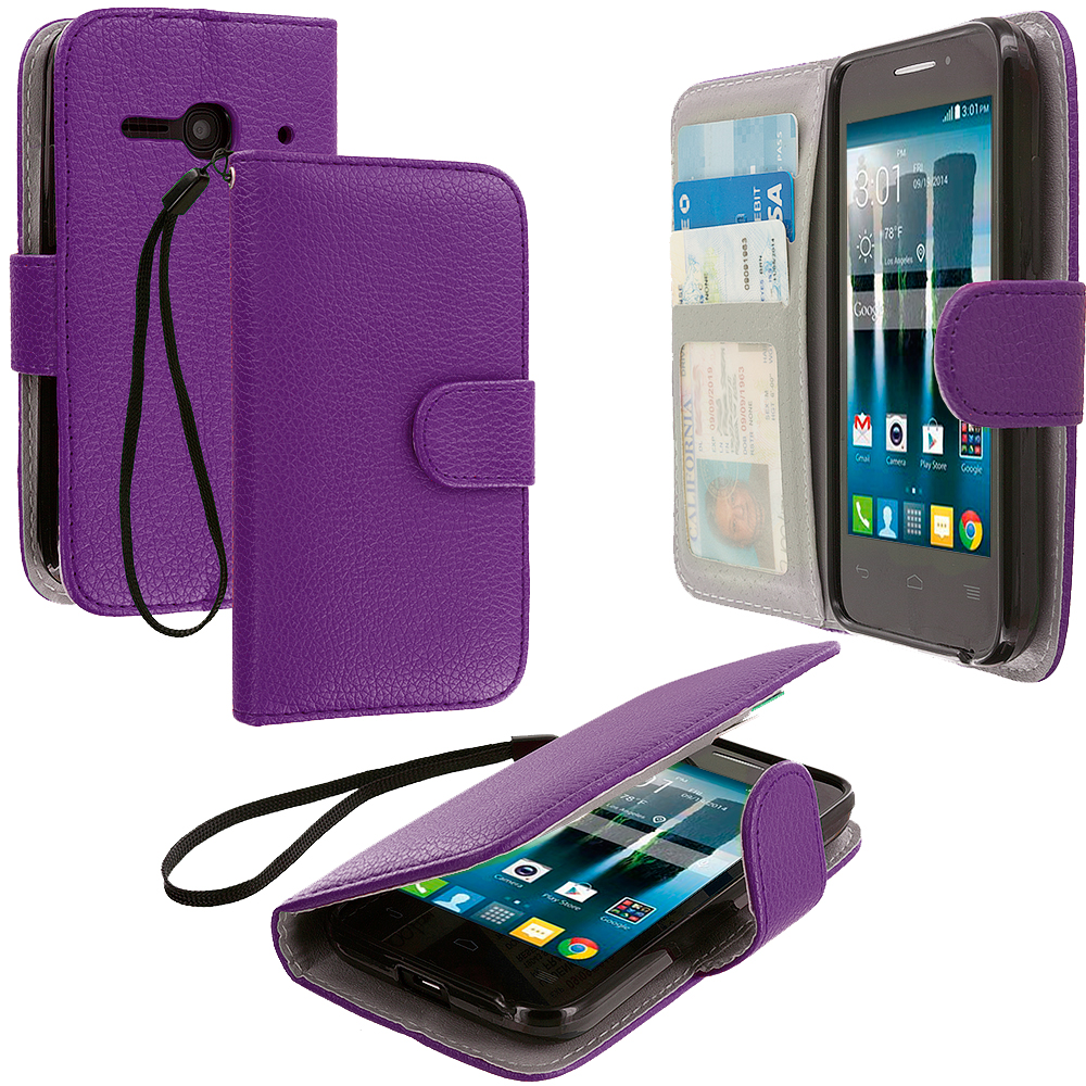 Alcatel One Touch Evolve 2 Purple Leather Wallet Pouch Case Cover with Slots