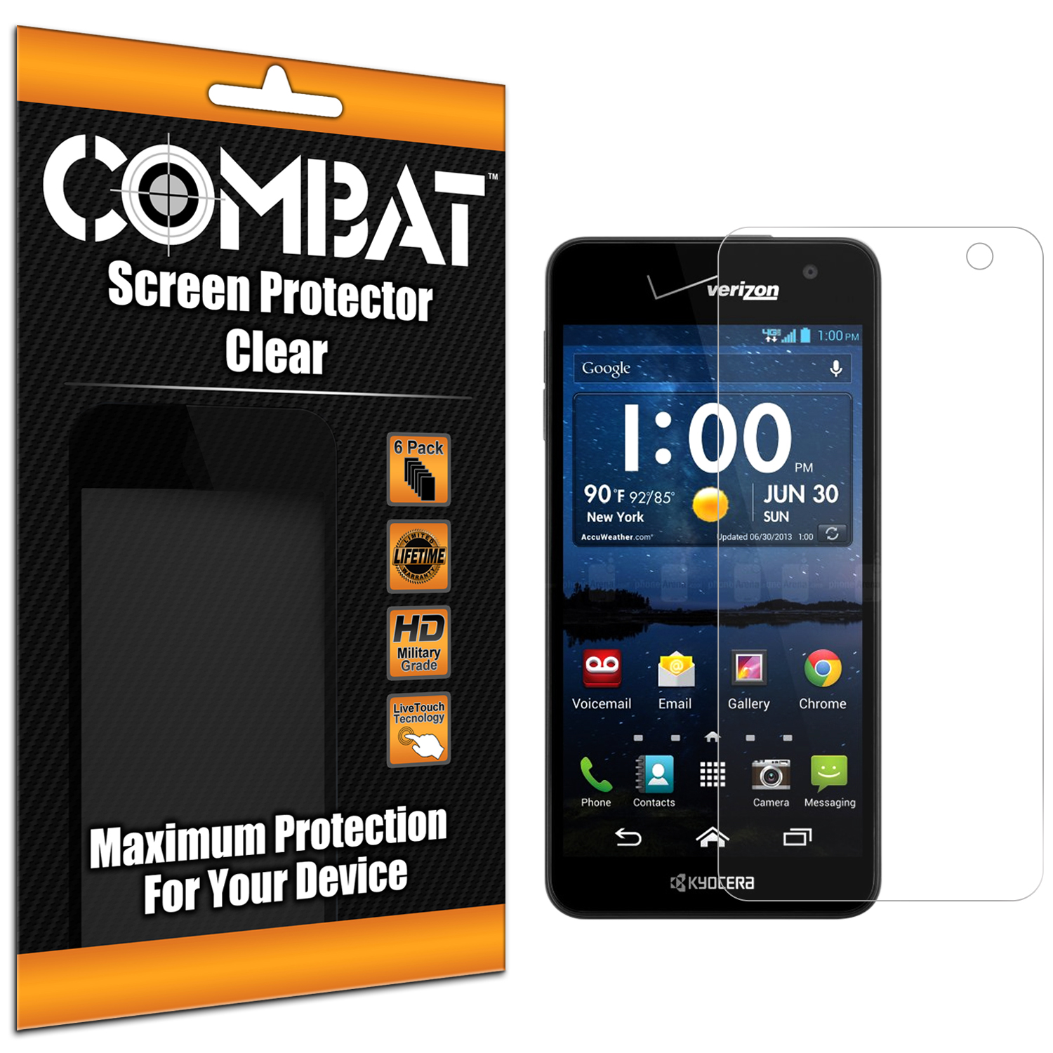 Kyocera Hydro Icon / Hydro Life Combat 6 Pack HD Clear Screen Protector