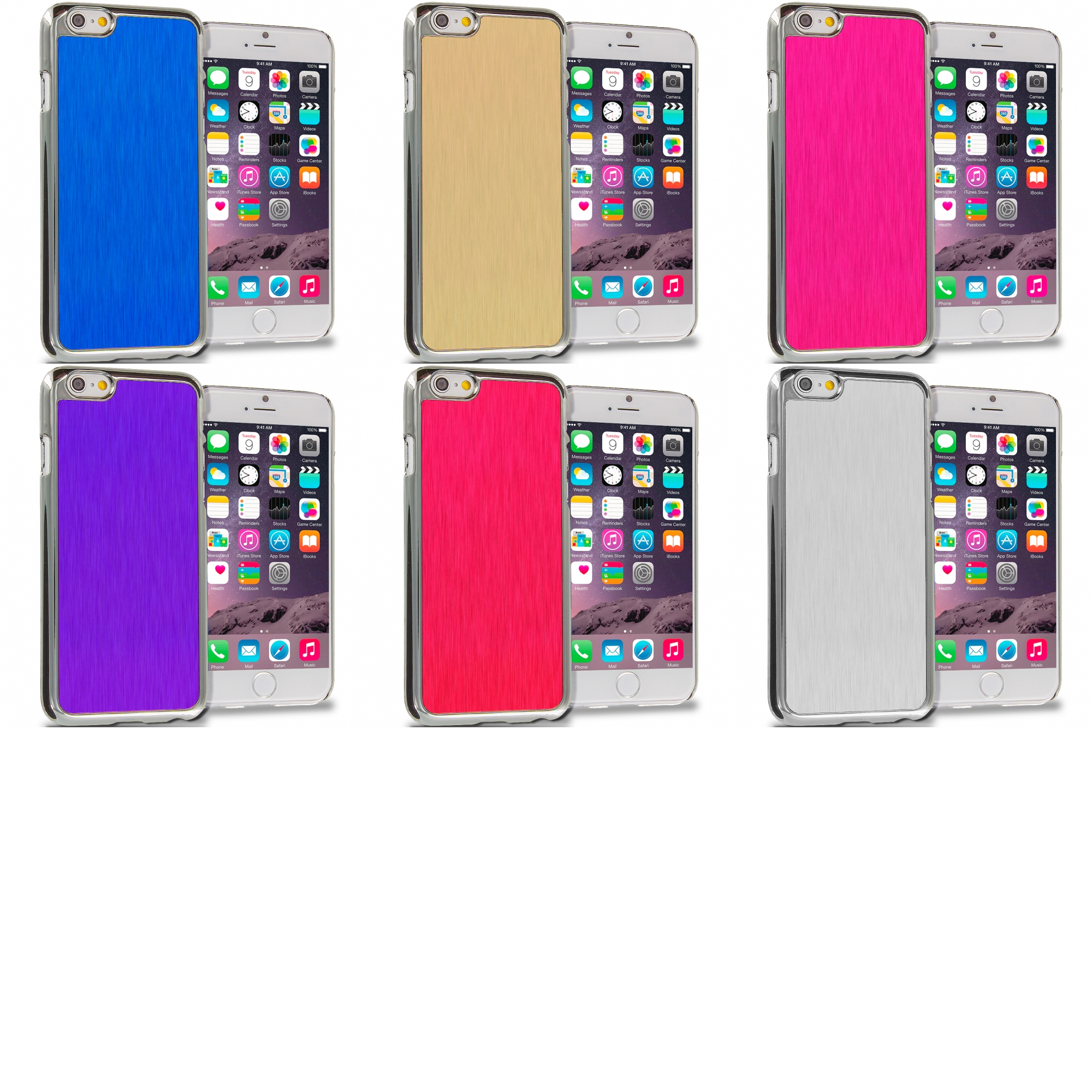 Apple iPhone 6 6S (4.7) 6 in 1 Combo Bundle Pack - Aluminum Metal Hard Case Cover