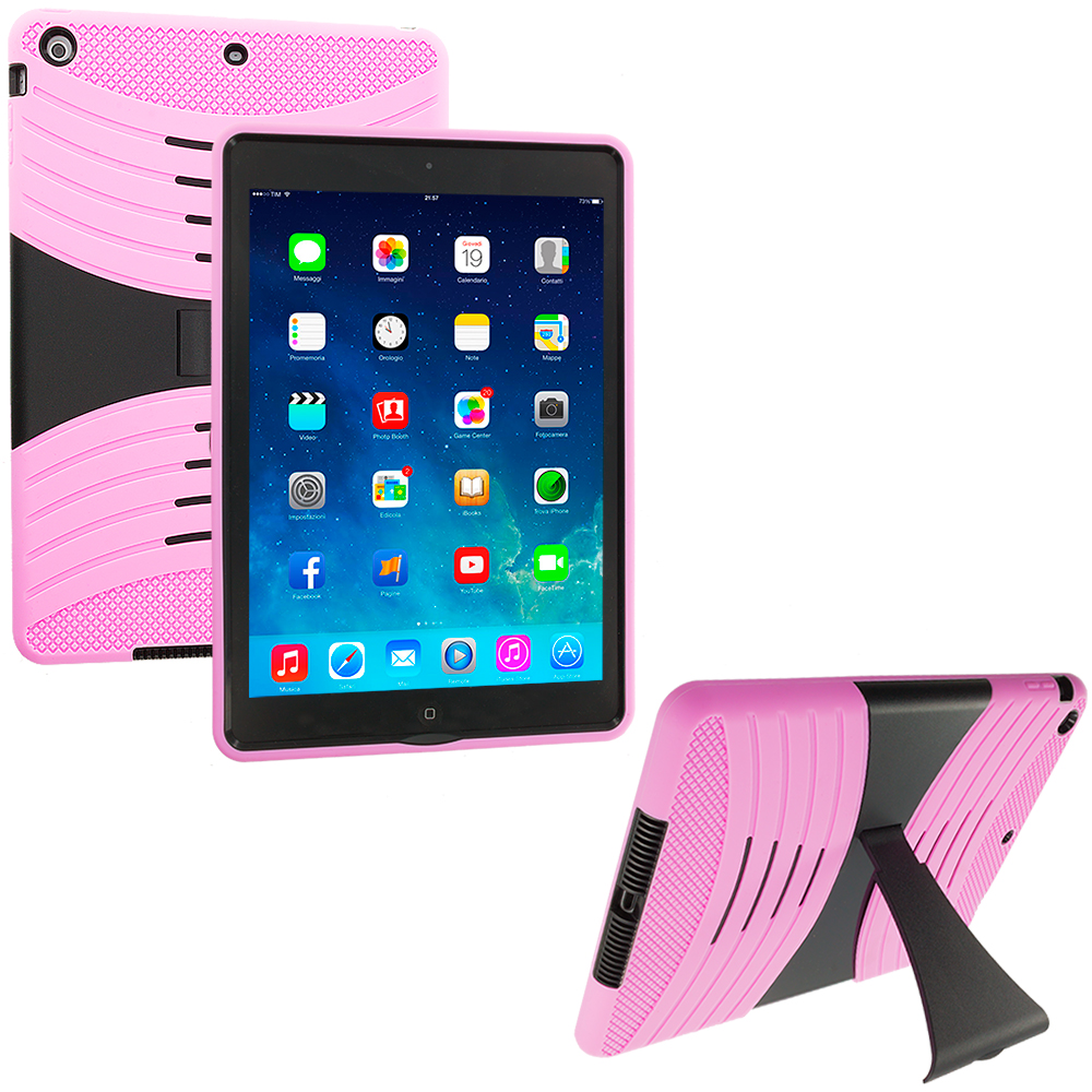 Apple iPad Air Pink / Black Hybrid Heavy Duty Shockproof Case Cover with Stand