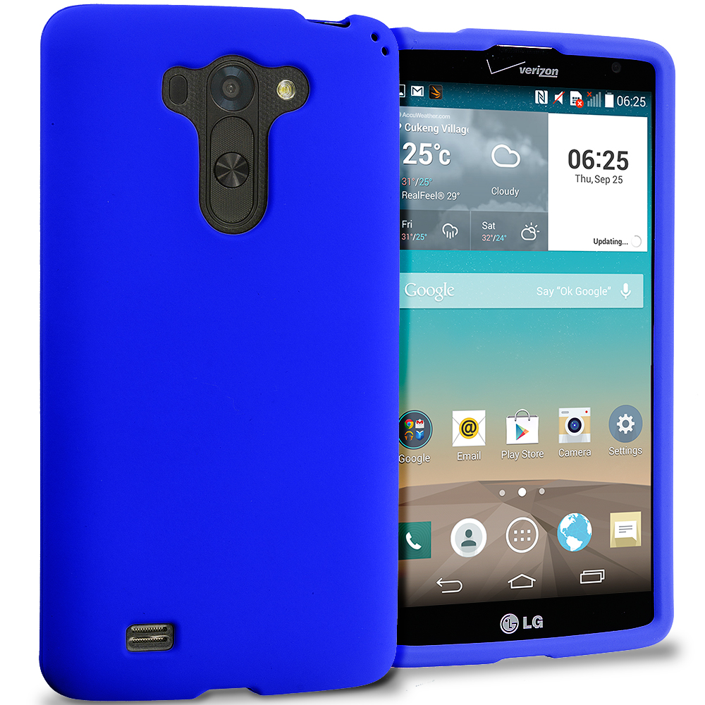 LG G Vista Blue Hard Rubberized Case Cover