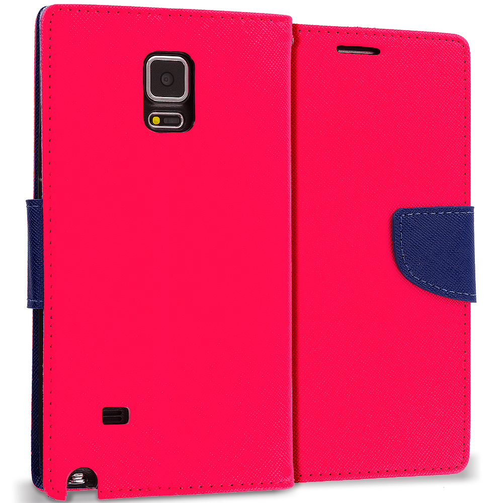 Samsung Galaxy Note 4 Hot Pink / Navy Blue Leather Flip Wallet Pouch TPU Case Cover with ID Card Slots