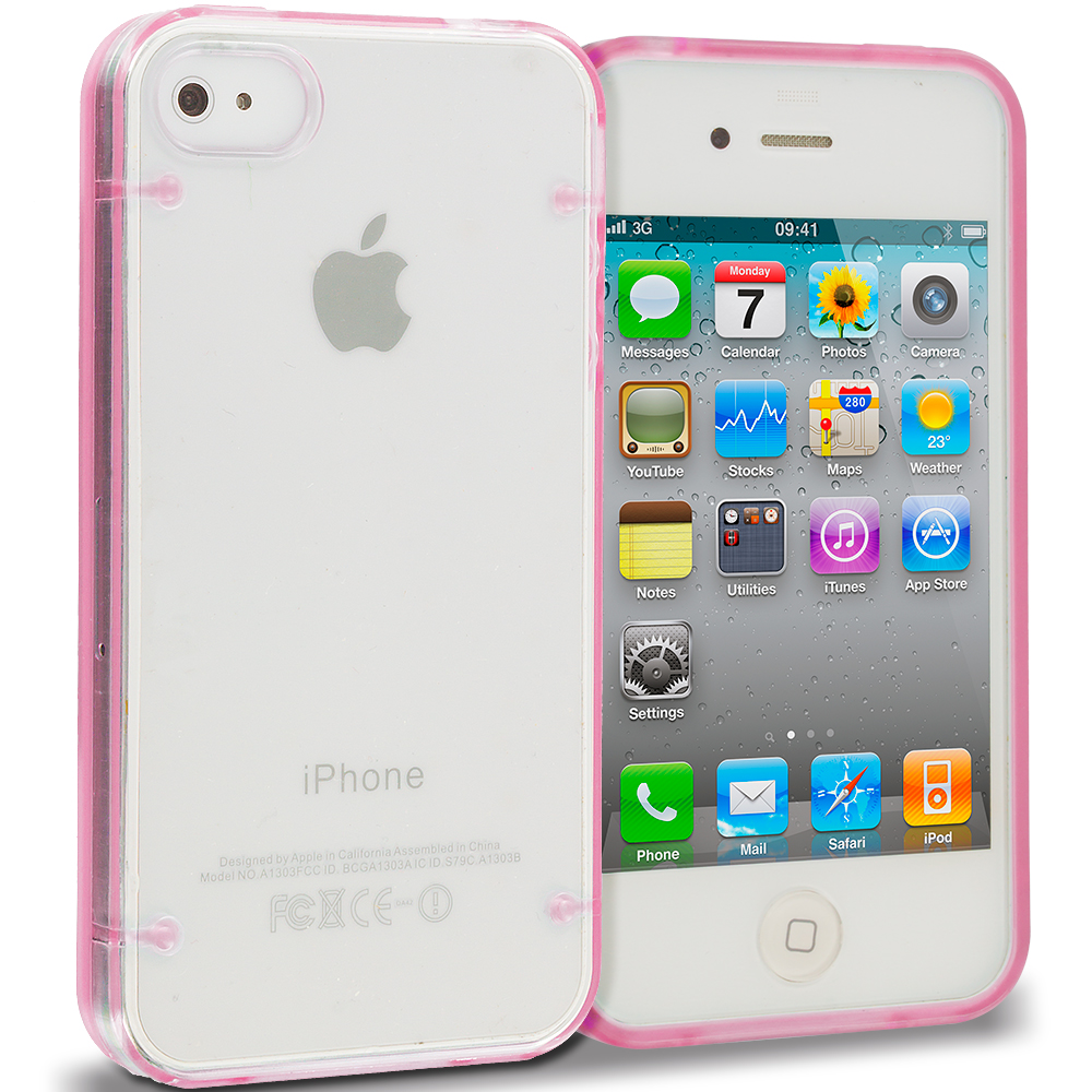 Apple iPhone 4 Bundle Pack Neon Green Pink Crystal Robot Hard TPU Case Cover : Color Pink