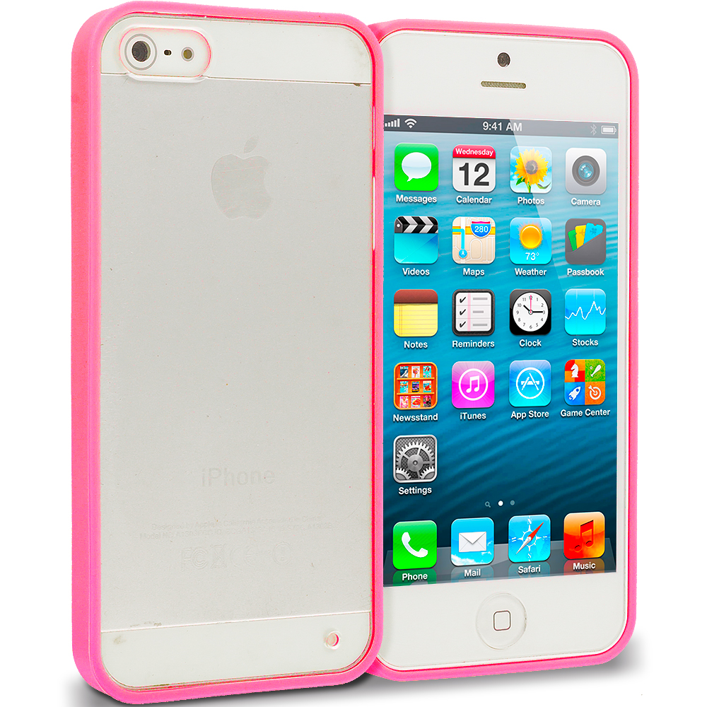 Apple iPhone 5/5S/SE Combo Pack : Hot Pink TPU Plastic Hybrid Case Cover : Color Hot Pink