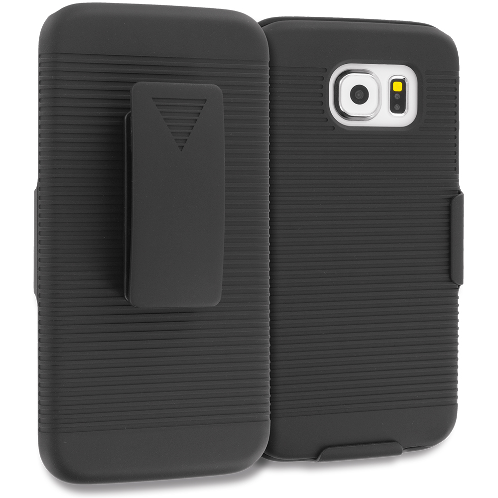 Samsung Galaxy S6 2 in 1 Combo Bundle Pack - Belt Clip Holster Hard Case Cover : Color Black