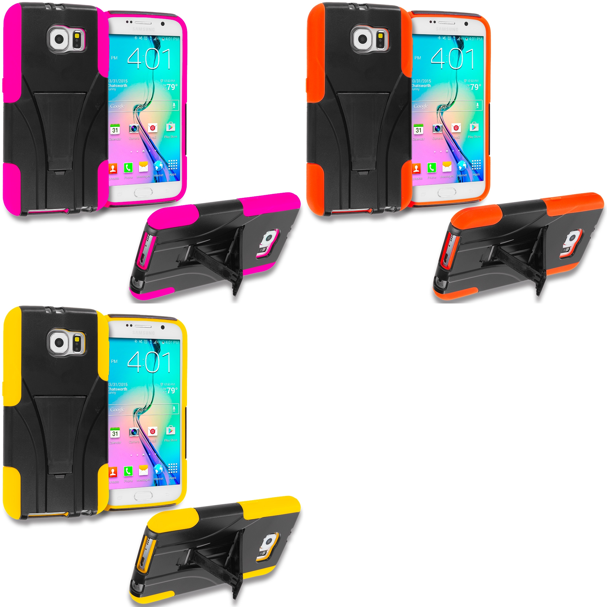 Samsung Galaxy S6 Combo Pack : Black / Hot Pink Hybrid Hard Soft Shockproof Case Cover with Kickstand
