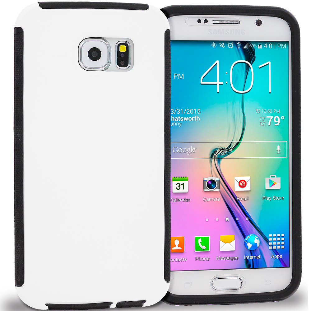 Samsung Galaxy S6 Black / White Hybrid Hard TPU Shockproof Case Cover With Built in Screen Protector