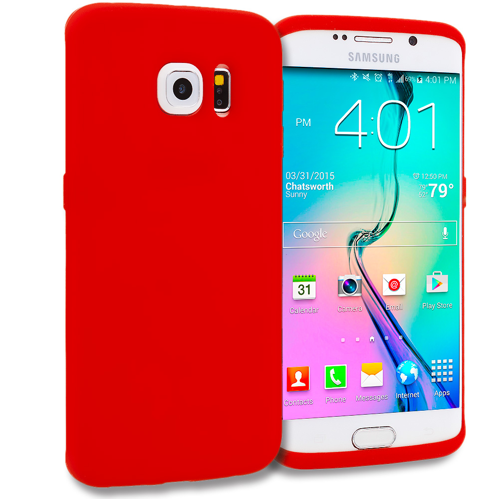 Samsung Galaxy S6 Edge 4 in 1 Combo Bundle Pack - Silicone Soft Skin Rubber Case Cover : Color Red